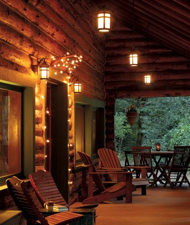 Outdoor lighting | Cabin porches, Log homes, Porch lighting on cabled deck lighting, backyard deck lighting, bridge deck lighting, solar powered deck lighting, boat deck lighting, rustic deck lighting, yacht deck lighting,
