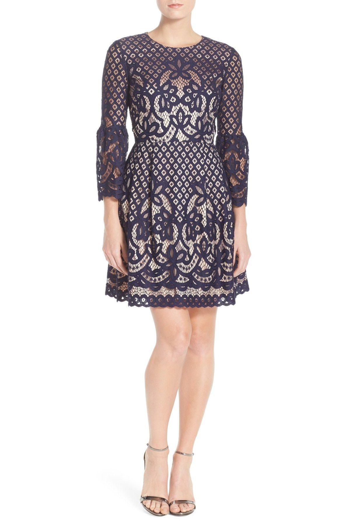 Eliza J Bell Sleeve Lace Fit Amp Flare Dress Regular