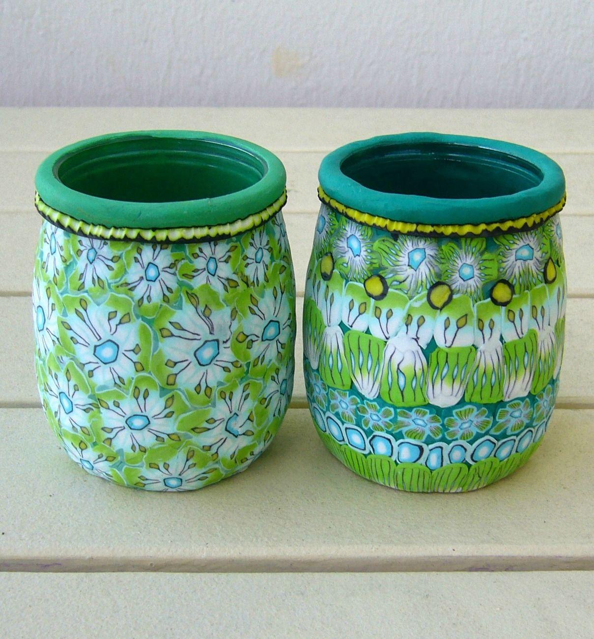 pots yaourts customis s avec des canes polym re diy pot de yaourt en verre recyclage. Black Bedroom Furniture Sets. Home Design Ideas