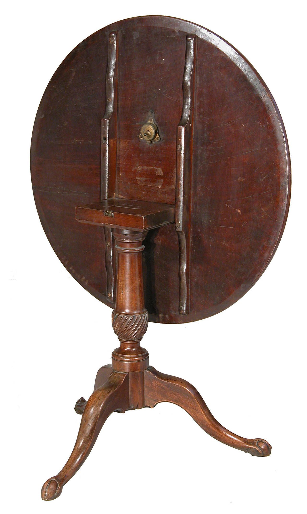 Chippendale Tilt Top Table With Spiral Carved Column Newport Circa 1780