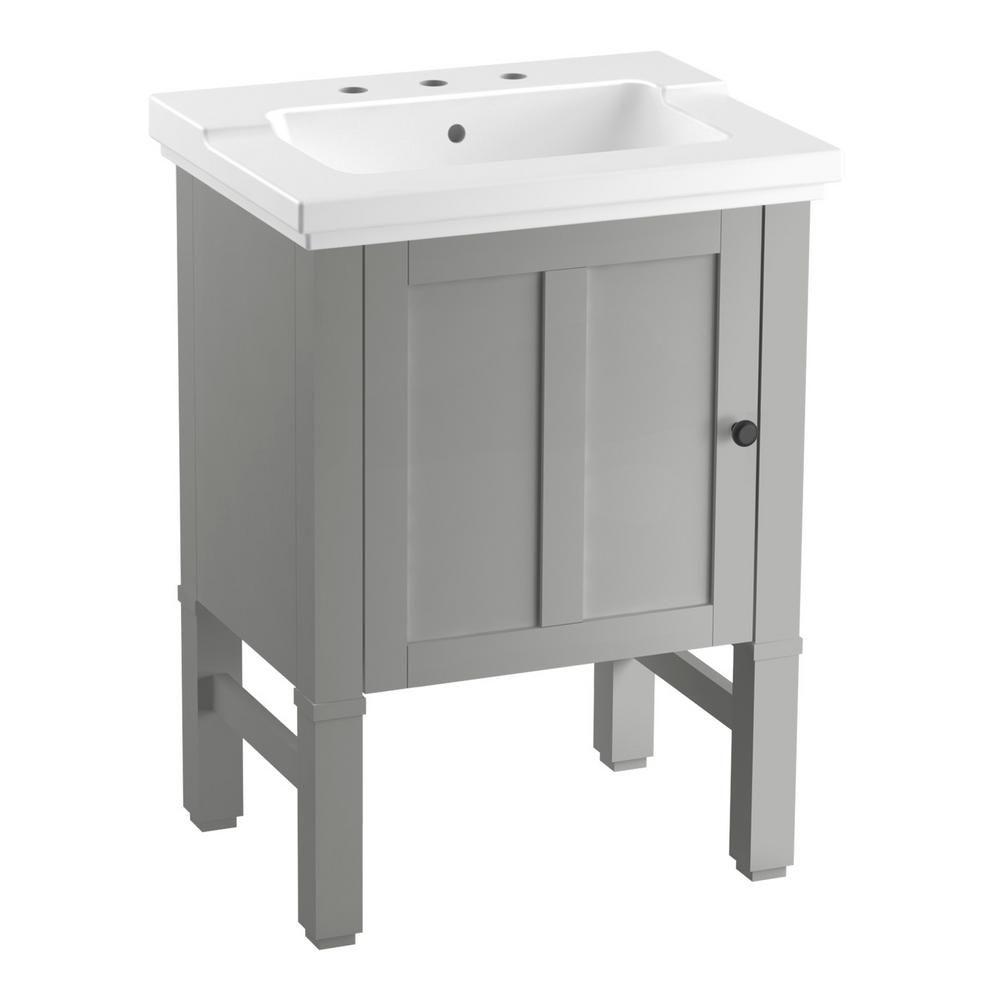 Kohler Chambly 24 In W Vanity In Mohair Grey With Ceramic Vanity Top In White With White Basin K R20195 1wt The Home Depot Vanity Modern Bathroom Vanity Bathroom Vanity Tops