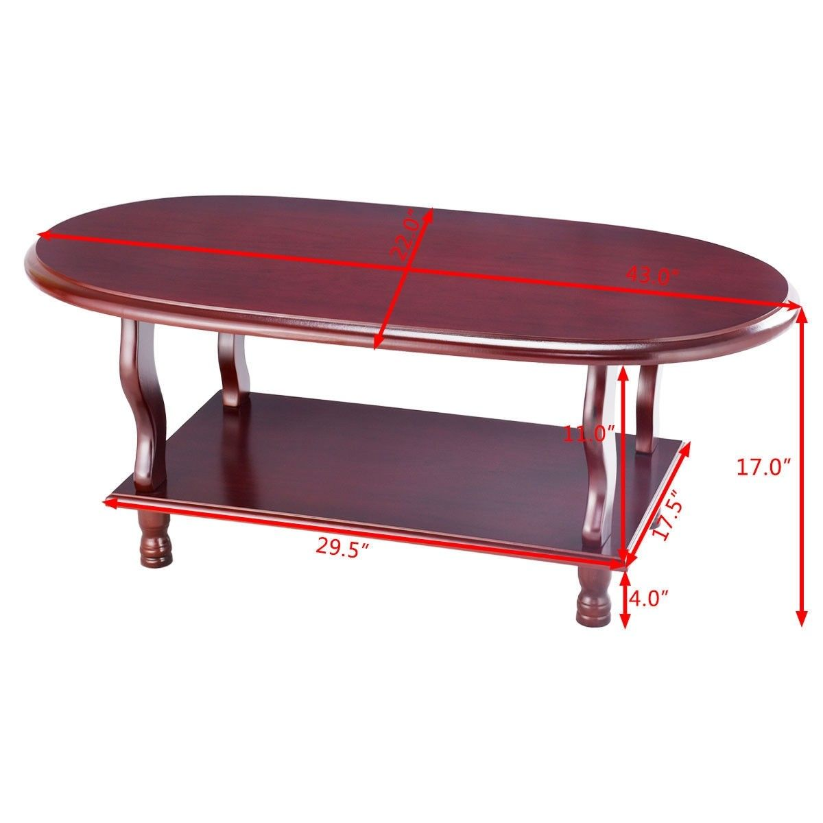 Classic Oval Cherry Coffee Table With 2 Tier Design Coffee Table Side Coffee Table Cherry Coffee Table [ 1200 x 1200 Pixel ]