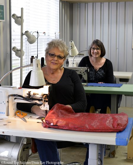 Brinda Jones and Betsy McCormick Jones own Church Lane Upholstery in Waldeck near Round Top, Texas. They give new life to old things.