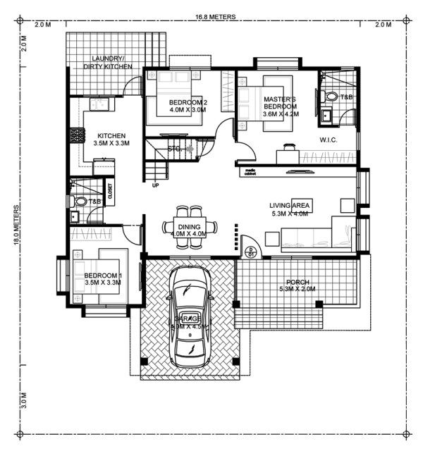 Modernist A 20 X 20 Modern Style Two Car Garage: Four Bedroom Modern House Design