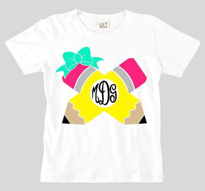 Pencil Monogram Kids Shirt For First Day Of School With