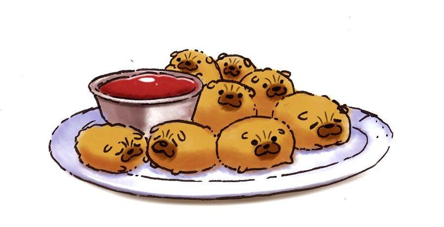 Hush Puppies Food Illustrations Yummy Snacks Chibi Food