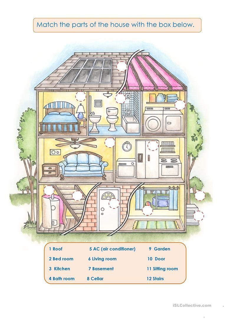 My house worksheet - Free ESL printable worksheets made by teachers    Printable worksheets [ 1079 x 763 Pixel ]