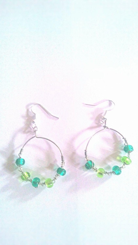 Green hoop earrings, hoops , Easter, earth day earrings, lucky hoops ...