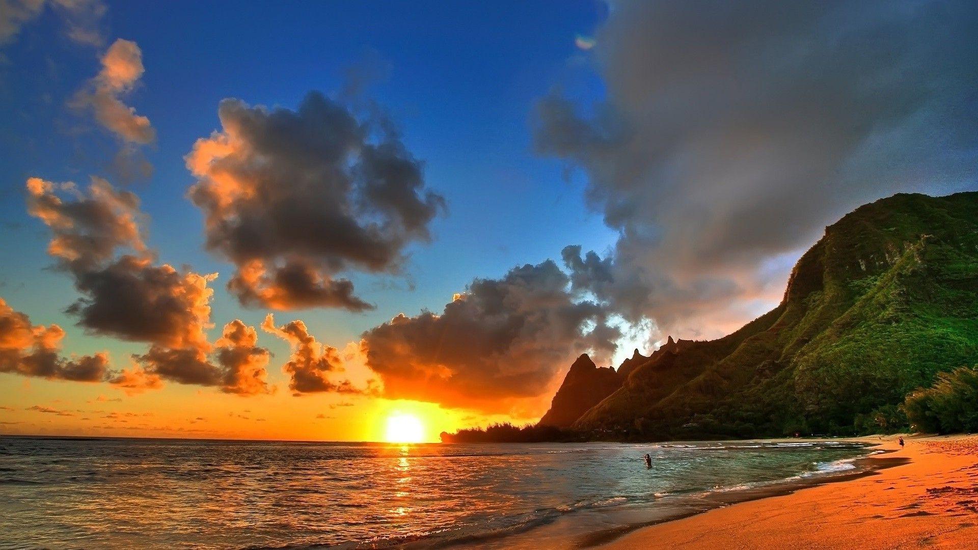 Beach Sunset Hd Desktop Wallpaper Beach Sunset Wallpaper Hawaii Beaches Sunset Wallpaper
