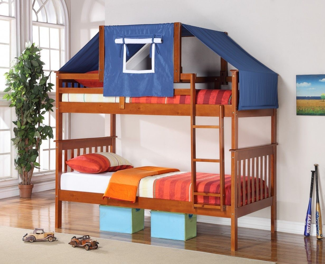 Loft bed with slide wayfair  Jayden Boyus Bunk Bed with Blue Tent  Bunk bed and Products