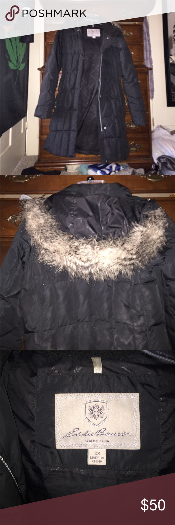 "Eddie Bauer Goose Down Jacket Knee length, goose down Eddie Bauer Winter coat. Has detachable fur hood. Says size XS but fits more like a small. For reference, I'm 5'6"", 145 lbs and it fits me just a little snug. Great condition and super super warm. Eddie Bauer Jackets & Coats Puffers"
