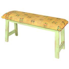 reclaimed mango wood bench in green with vintage kantha upholstery