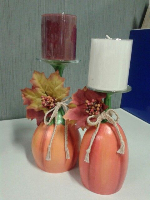Hand painted pumpkin wine glass candle holders !