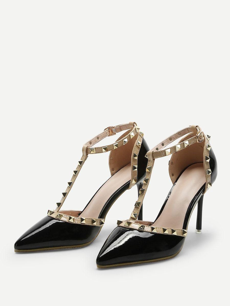 8071bbe5ff Black Pointed Toe T-shaped Stiletto Heels -SheIn(Sheinside)   sg ...