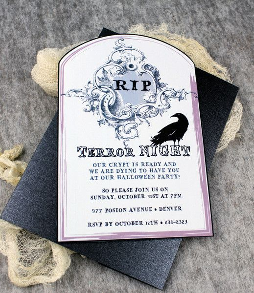 Halloween Invitation Template With Raven Tombstone Halloween Invitation Template Free Halloween Invitations Halloween Invitation Templates