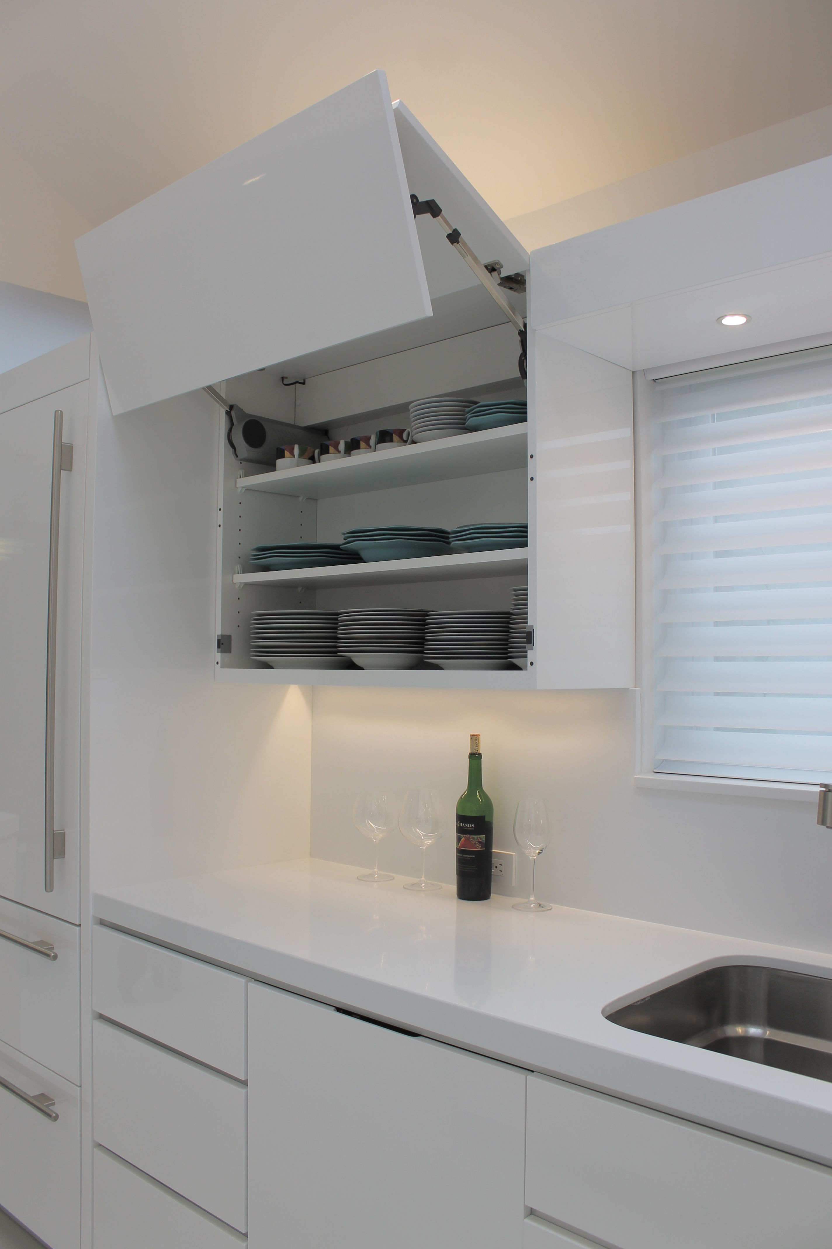 Custom Electric Lift Up Cabinets Just A Touch Of The Cabinet Door Opens Closes Automatically Kitchen Cabinets Uk Buy Kitchen Cabinets White Modern Kitchen