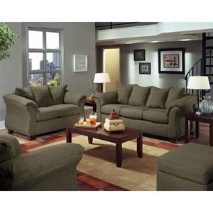 Nebraska Furniture Mart American Contemporary Olive Microfiber Sofa And Loveseat Set