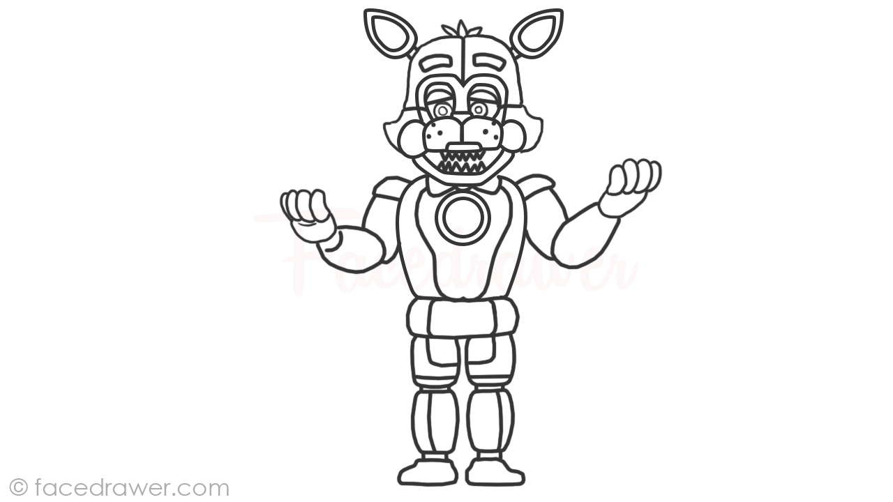 Learn How to Draw Easy Funtime Foxy from FNaF Sister