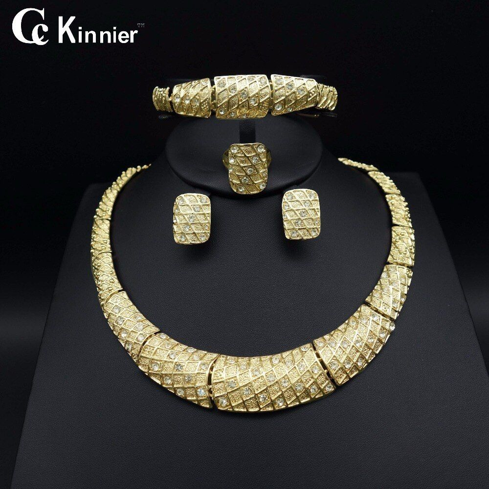 Women Jewelry Sets Gold Plated Bridal Accessories African Beads Necklace Sets