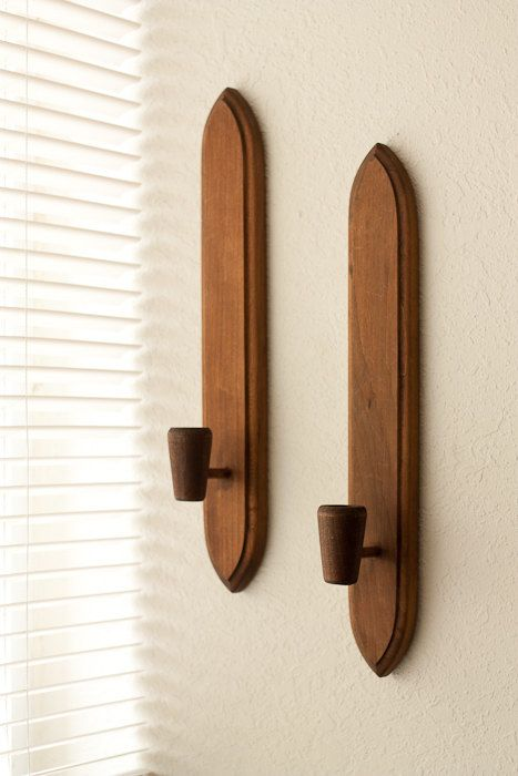 Vintage Wall Sconces From HODA Wooden Candle