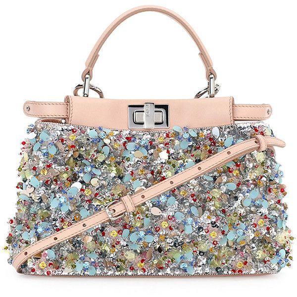 2d563a06 Fendi Peekaboo Mini Beaded Flower Satchel Bag ($7,745) ❤ liked on ...