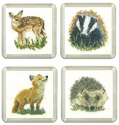 Fawn, Badger, Fox & Hedgehog Coaster cross stitch Set