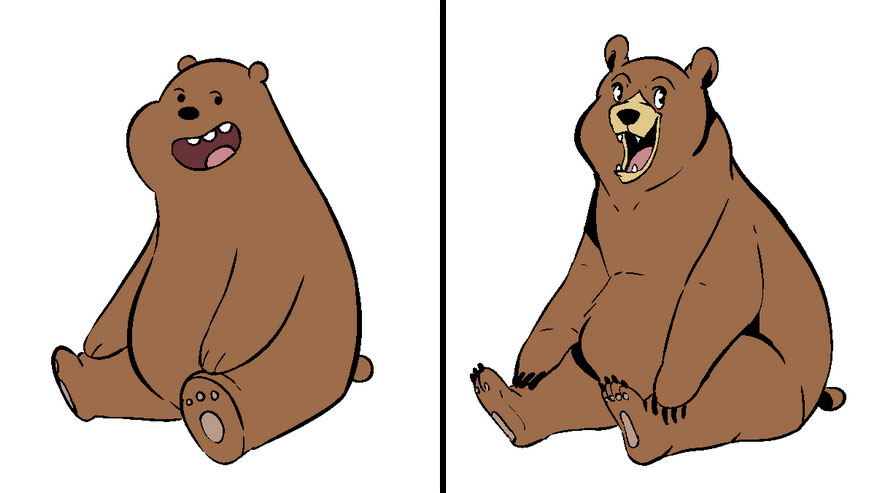 Artist Challenges Herself To Draw Cartoons In Their Official Style And Then Her Own 34 Pics We Bare Bears Cartoon Bear Art