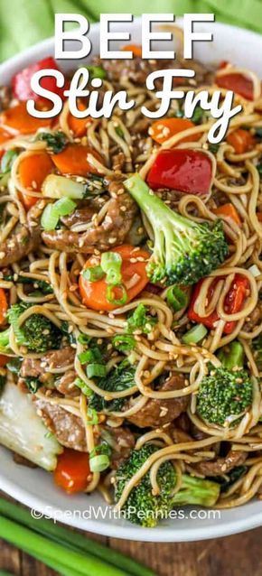 This easy authentic beef stir fry recipe is SO much better than take out. We love making teriyaki beef stir fry when we are entertaining! #spendwithpennies #beef #stirfry #beefstirfry #easybeefstirfry #teriyaki #teriyakibeefstirfry #healthystirfry