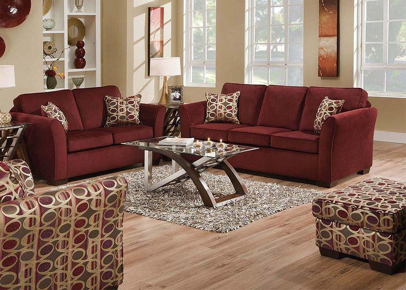 50580 Jayda Wine Set Burgundy Living Room Burgundy Sofas Living Room Sets