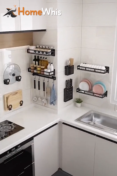 Declutter & keep your kitchen organized with these wall mounted kitchen shelves from Homewhis! #HomeDecor #KitchenOrganization   #KitchenOrganizationDrawers  #KitchenOrganizationZones