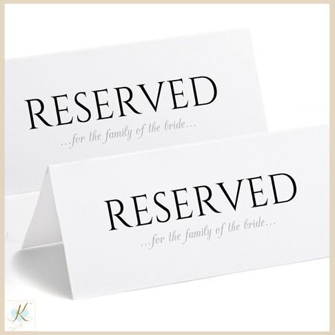 Printable Reserved Sign Tent Romantic Calligraphy Large