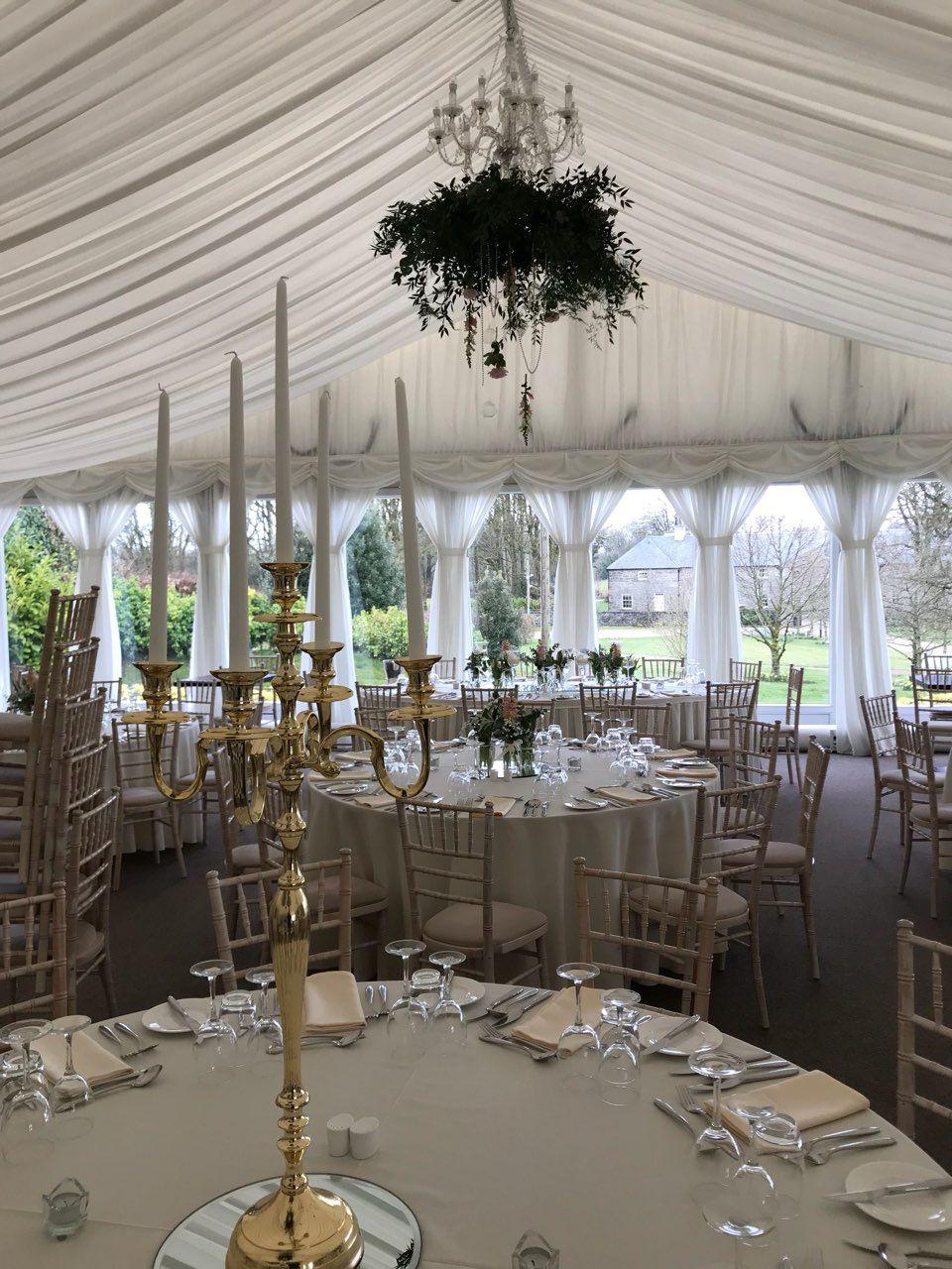Wedding Reception Golden Candelabra Arrangement Floral