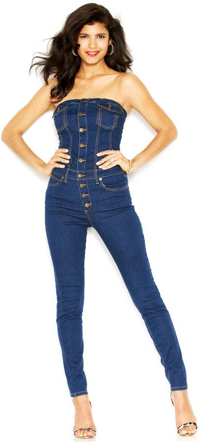 5caf122d848 GUESS Sleeveless Denim Jumpsuit