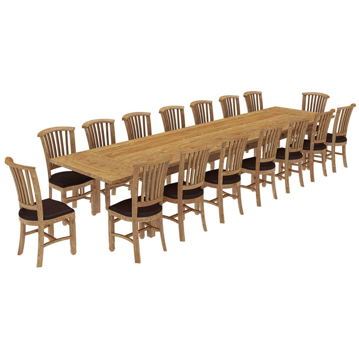Astounding Brussels Reclaimed Wood 17 Piece Large Extendable Dining Inzonedesignstudio Interior Chair Design Inzonedesignstudiocom
