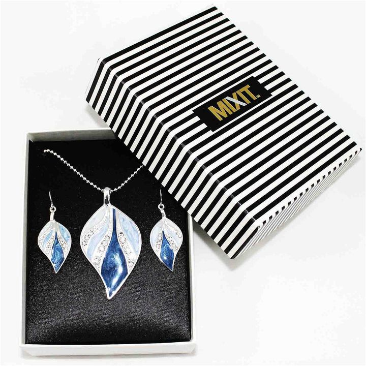 MIXIT Mixit 2-pc. Silver-Tone Blue Enamel Leaf Earrings & Necklace Set