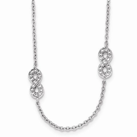 18 Inch Stainless Steel Polished and Antiqued Cubic Zirconia Circle Necklace