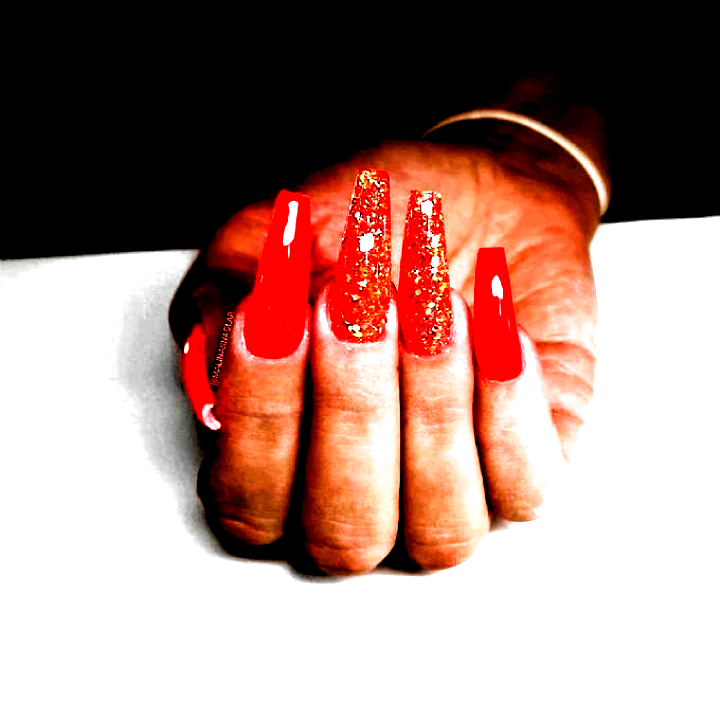 A glitter designed red Autumn Coffin nail. We collected more than 20 Acrylic Coffin Nails in this Fa