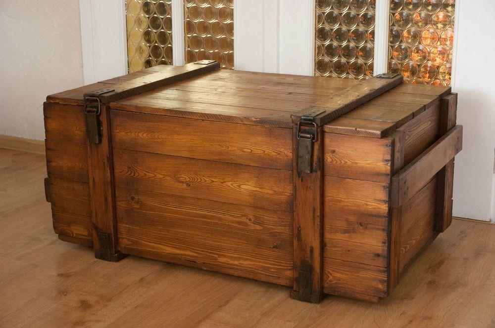 Alte Truhe Shabby Chic Vollholz Frachtkiste Vintage Massiv Tisch