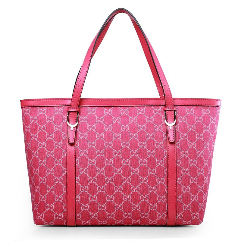 Gucci 309613 Canvas Nice Tote Bag Rose Red
