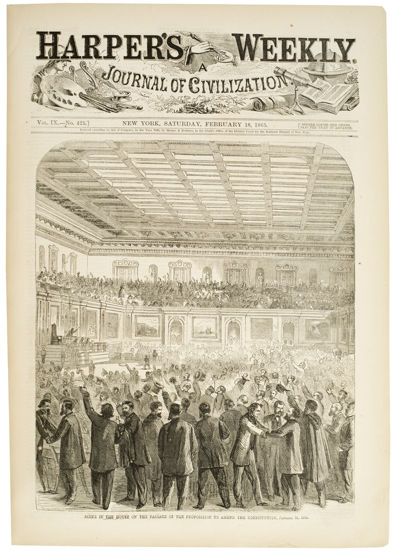 "January 31, 1865: The United States Congress passes the 13th Amendment to abolish slavery.  Harper's Weekly cover, February 18, 1865: ""Scene in the House on the Passage of the Proposition to Amend the Constitution, January 31, 1835.""  Wood engraving.  NYHS image #87029d."