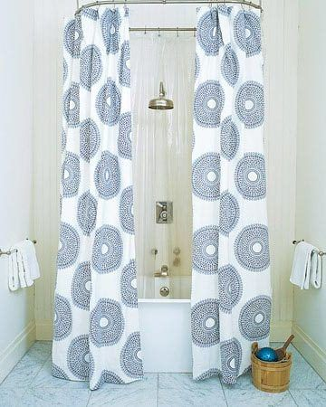 Round And Long Shower Curtain Ideas In White Color With Blue Circle Accents