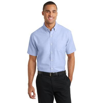 Port Authority Short Sleeve SuperPro ™ Oxford Shirt. S659 Oxford Blue
