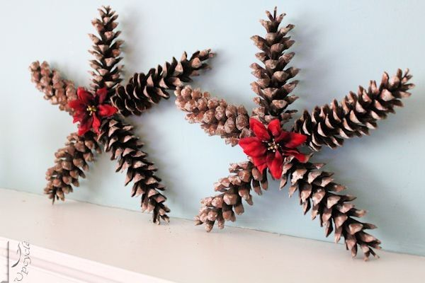 Christmas Star Decorations Using Pine Cones Christmas Crafts Decorations Christmas Star Decorations Pine Cone Decorations