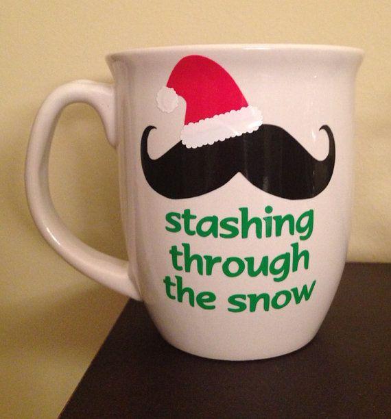 Christmas Wine Gles Personalized Mug Stashing Through The Snow Fun Gift Stocking Stuffer Funny Cup Idea Un