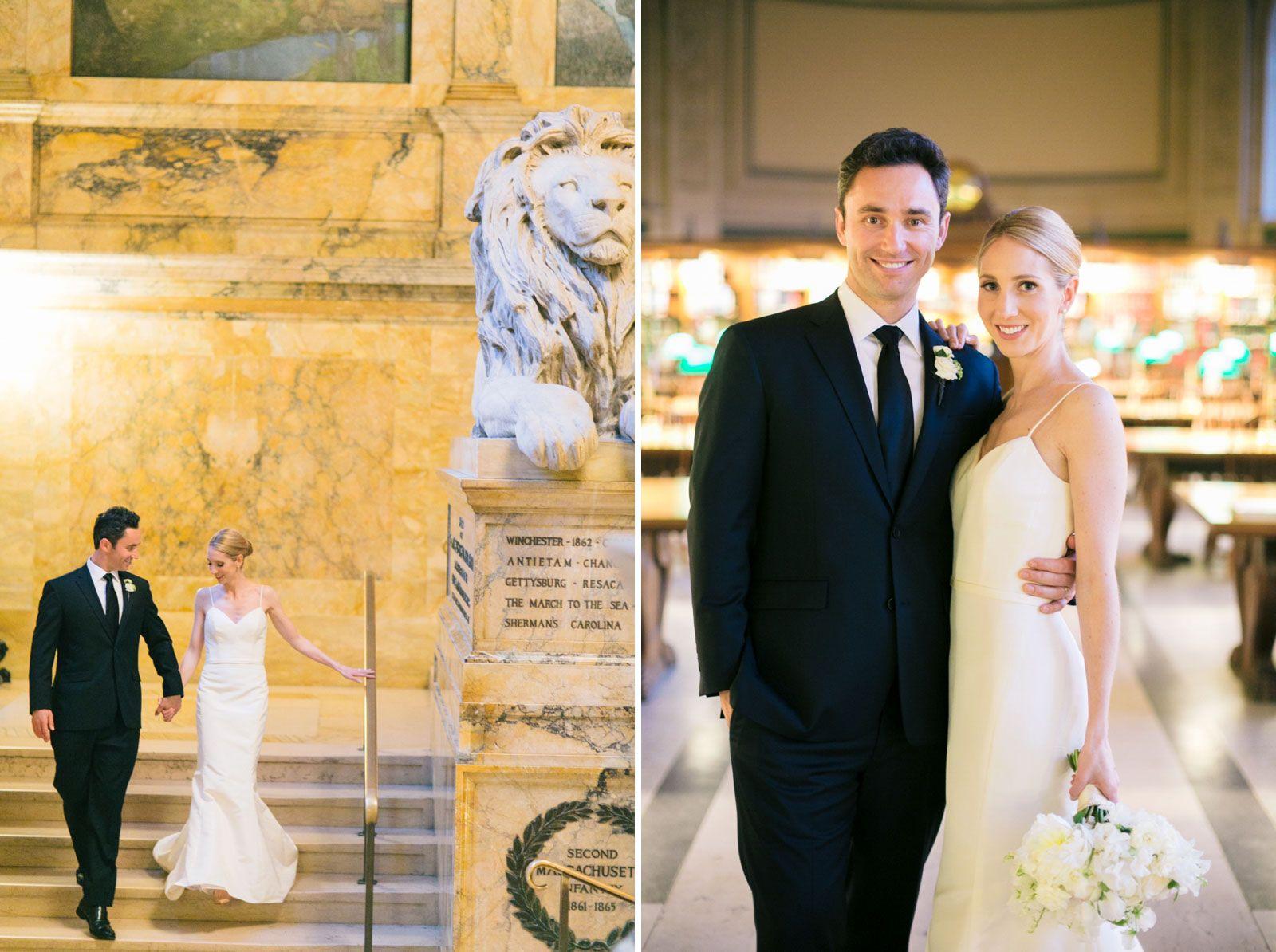 Best dresses to wear to a march wedding  Boston Public Library Wedding Tara and Luke  Bride u Groom