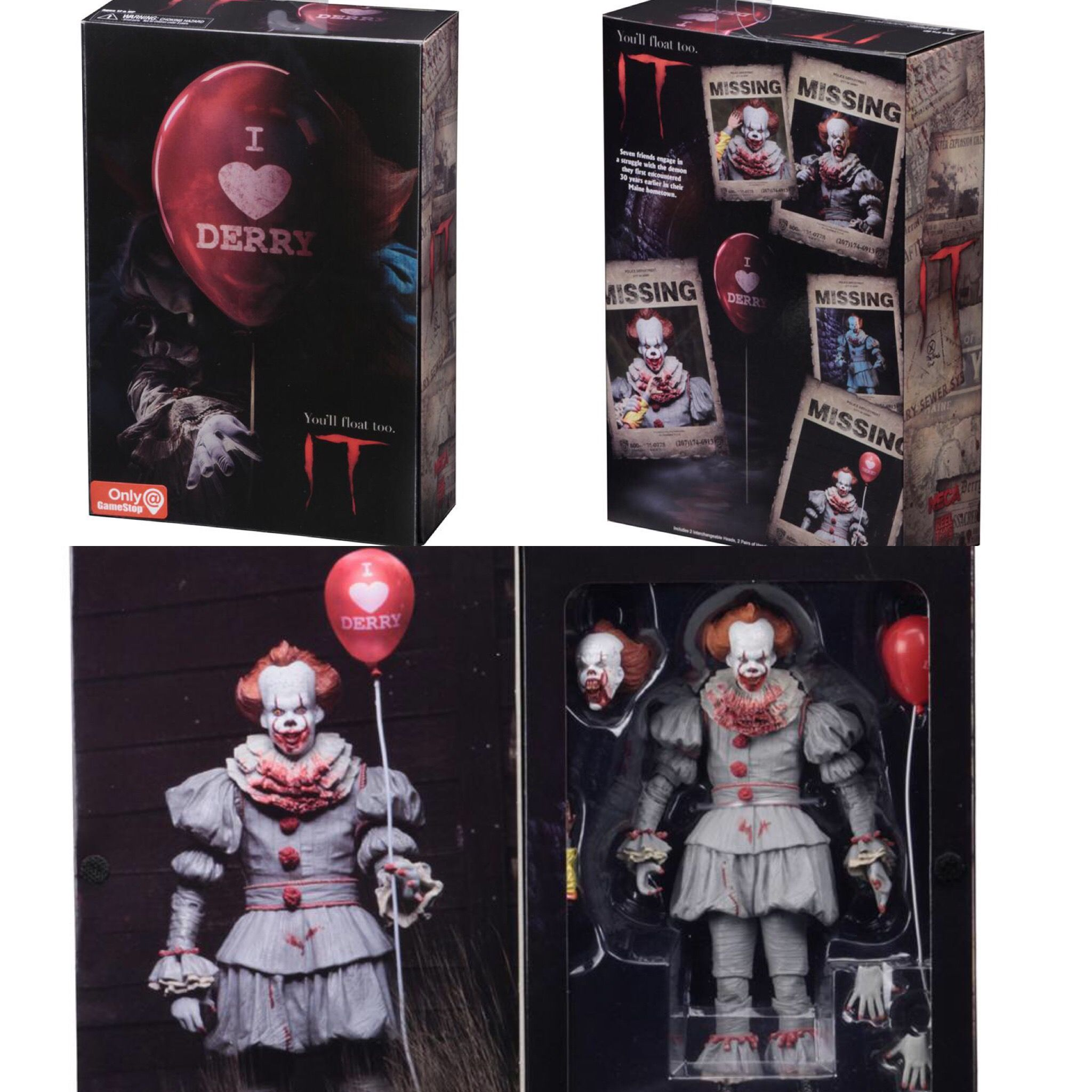 Pennywise IT Action Figure I Heart Derry Exclusive 3D Cover NECA Official