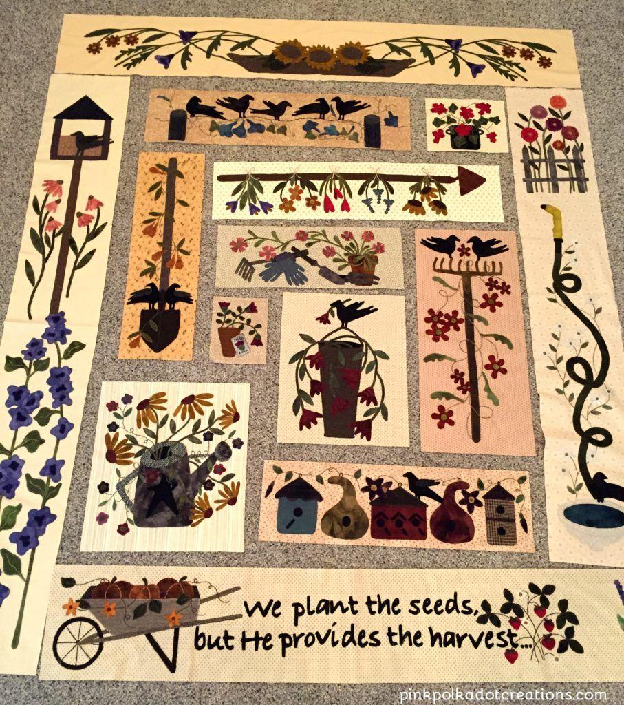 WIP-wool quilt- A Primitive Garden pattern.  Wool applique.