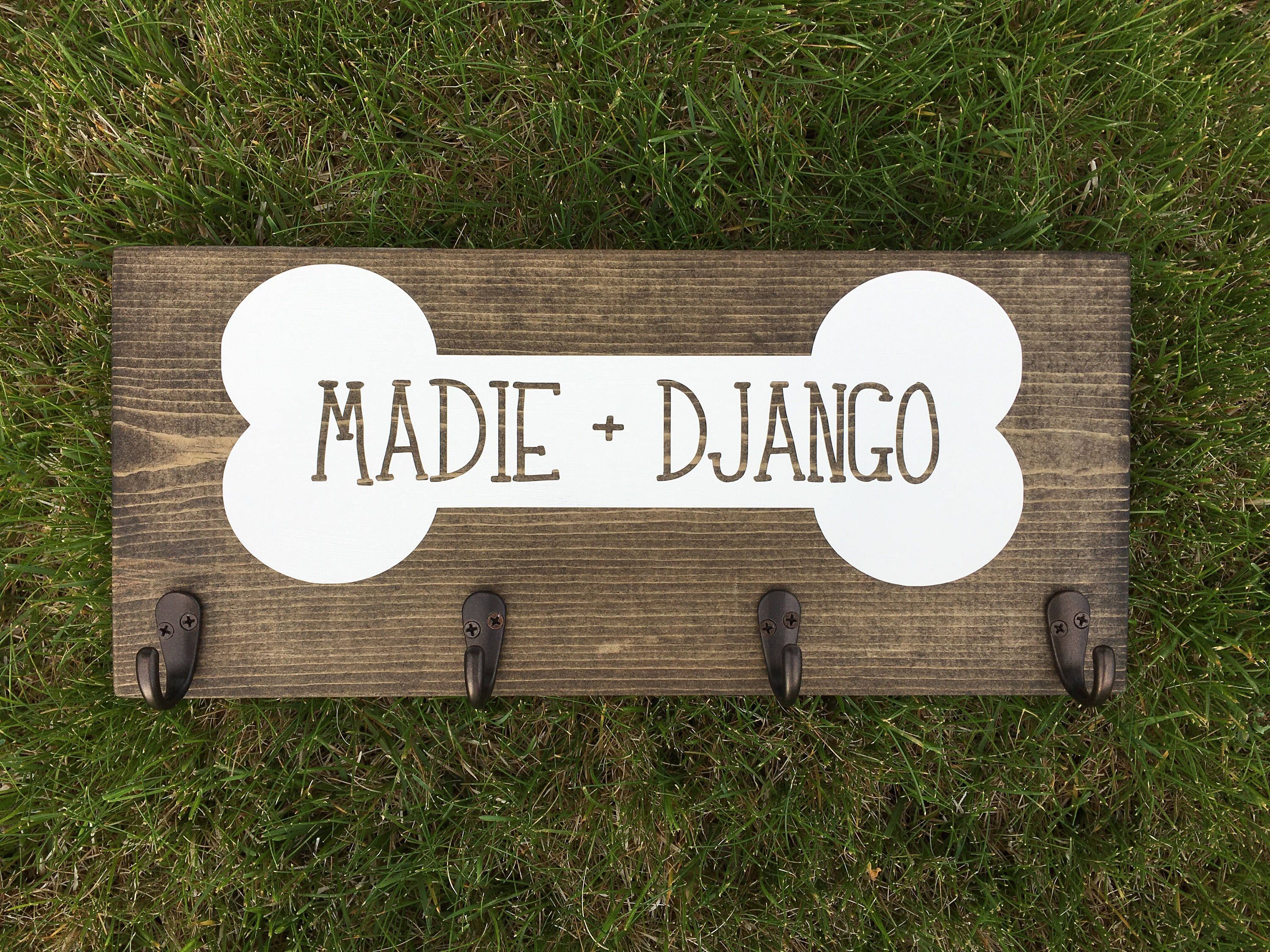 Dog Leash Holder Hook Wooden Sign With 4 Hooks Stained White Bone By Jpsfamilycreations On Etsy