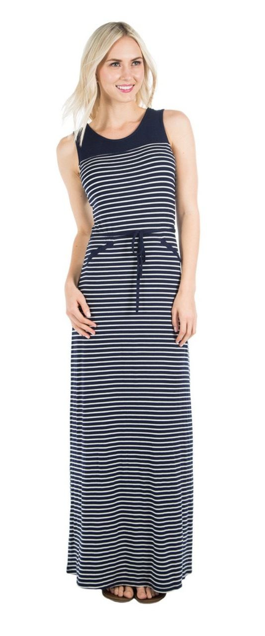 Striped Maxi Dress from Deborah & Co. Perfect for summer, layer a short sleeve halftee under it or put a short sleeve cardigan with it!