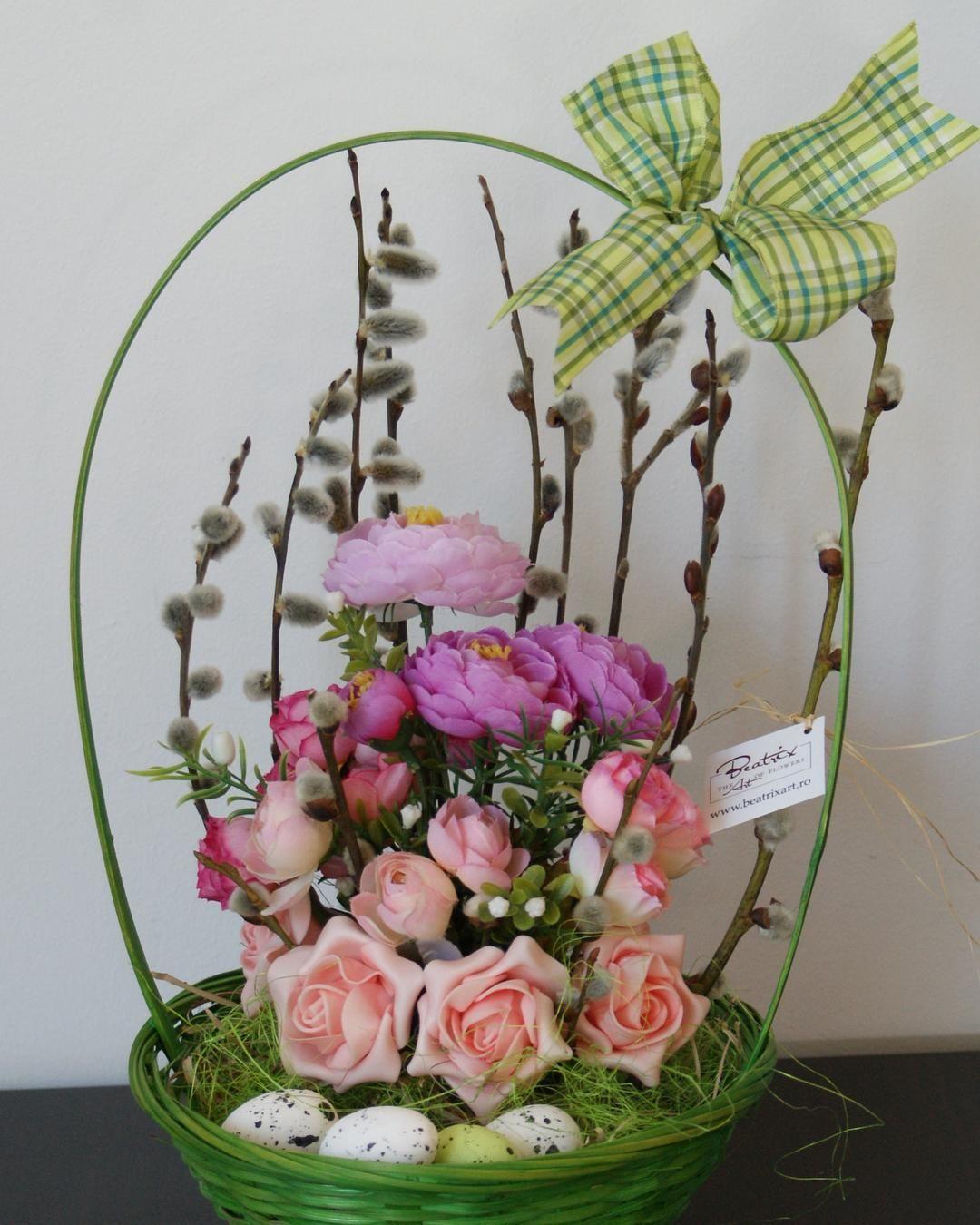Cos De Paste Aranjament Flori Artificiale Floriartificiale